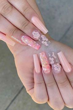 Cute Pink Nails, Pink Gel Nails, Super Cute Nails, Hot Nails, Light Pink Acrylic Nails, Cute Acrylic Nails, 3d Flower Nails, Cute Acrylic Nail Designs, 3d Nail Designs