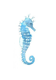 Blue Seahorse - Watercolor Print 16.5 x 11.7 Sea Ocean Summer water creatures