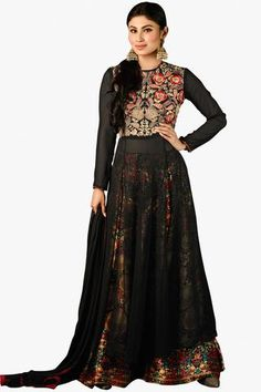 Black Phenomenal Designer Embroidered Straight Cut Suit In Faux Georgette