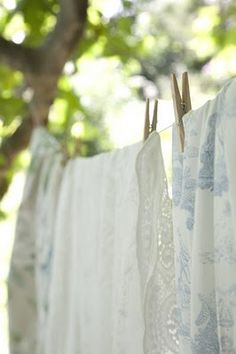 Clothes line.love the way sheets feel and the fresh smell when dried on the line