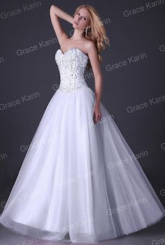 Long Beaded Tulle Wedding Evening Dress Bridesmaid Formal Prom Ball gown US 2~16