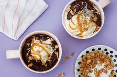 Gooey Chocolate Cake With Caramel Sauce And Peanuts That You Can Easily Make In A Mug