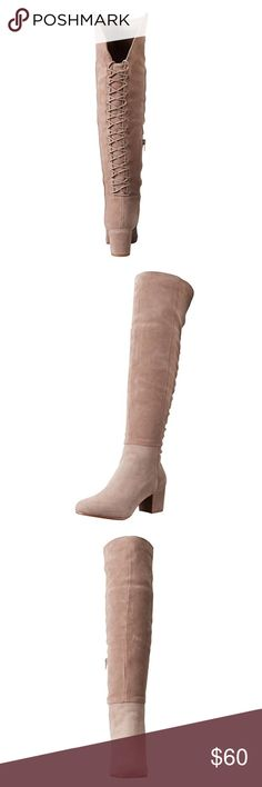 """NWT Steve Madden Suede Harness Boot Taupe & Black Steve Madden Women's Hansil Harness Boot Suede Imported Synthetic sole Shaft measures approximately 22"""" from arch Heel measures approximately 2"""" Boot opening measures approximately 14"""" around Boot Lace up detail, Retails for $170 + tax Steve Madden Shoes Lace Up Boots"""