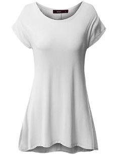 0d70a965c8a20a Doublju Women Short Sleeve Simple Comfy Unbalanced Hem line Tunic Shirt  WHITE