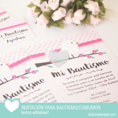 Pajarito rosa nena Invitacion para imprimir #imprimible #bautismo #comunion… Online Gratis, Party Time, Place Cards, Place Card Holders, Inspiration, Inspire, Pink, Invitations, Texts