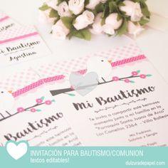 Pajarito rosa nena Invitacion para imprimir #imprimible #bautismo #comunion…