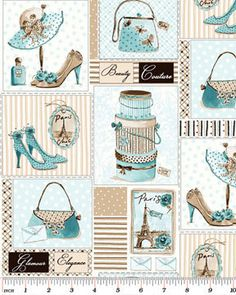 Glamour, Inc  by Michelle D'Amore for Benartex Cotton Fabric Aqua Elements of Style 02264-88