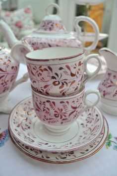 Pink Copper Lustre Teacups by cake-stand-heaven, via Flickr