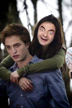 """Hilarious photoshops of popular celebs - Kristen Stewart just """"flew"""" into this one as """"Mr.Bean"""". - Sure, people make fun of Kristen Stewart's looks a lot, even though we think she's gorgeous. At least she doesn't look like Mr. Bean! - http://liefact.com/?p=5612&page=13"""