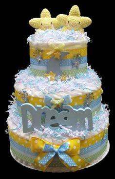 Star Twins Moon Dream Diaper Cake, Baby Shower Gift