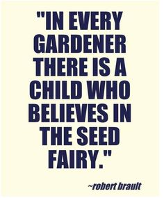Gardening thought for the day: 'In every gardener is a child who believes in the seed fairy.' From the gardening quotes board
