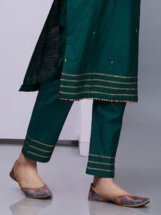 Emerald Green Silk Kurta with Pants - Set of 2 Silk Kurti Designs, Kurta Designs Women, Salwar Designs, Kurti Designs Party Wear, Blouse Designs, Neckline Designs, Stylish Dress Designs, Designs For Dresses, Neck Designs For Suits