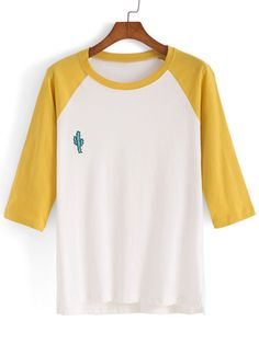 Dip Hem Color-block Embroidered T-shirt Mobile Site