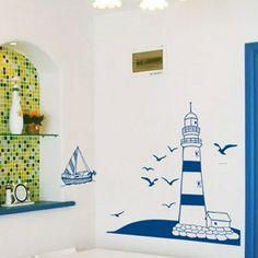 nautical theme wall sticker blue lighthouse sea gulls sailboat art home decor Living Room Vinyl, Vinyl Room, Cheap Wall Stickers, Removable Wall Stickers, Vinyl Wall Tiles, Blue Kitchen Decor, Kitchen Decorations, Room Kitchen, Arte Black