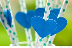 Mint Green Spotty Straws With Blue Painted Heart Tags by PaperPoniesBoutique. $6