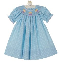 NEW Petit Bebe by Anavini Blue Dotted Cotton Bishop Smocked Dress with Cupcake Embroidery $50.00