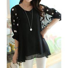 Stylish V-Neck 3/4 Sleeve Polka Dot Loose-Fitting Chiffon Women's Blouse, BLACK, XL in Blouses | DressLily.com