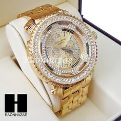 Men's Hip Hop Iced Out 14K Gold PT Bling Lab Diamond Techno King Watch L001
