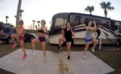 """First Florida sunset workout DONE  added 2 more babes to our tribe today. They flew in from Massachusetts.   Of course we had to do a group workout together. It's the best way to bond and see what your peeps are really made of. Proud to say our mental strength was on point.  PLUS - People were totally watching us and creeping from their RV spaces - one lady even gave us the stank eye when I said """"hello"""" to her... LOL but we just kept on doing our thang. Old Kandace would NEVER workout in…"""