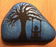 Solitude #solitude #fall #autumn #silhouette #blue #black #contrast #homedecor #paintingstones #paintingrocks #rockpainting #stoneart #posca #stonepainting #malerpåsten #art #hobby #tree #tinyhuman