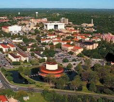 Texas State University in San Marcos. The big red circular building in the middle is the performing arts complex :D