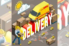 Isometric Express Delivery Service. Business Infographic