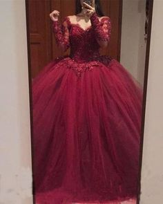 Burgundy Lace Appliques Long Sleeves Tulle Ball Gowns Prom Dresses,P1847