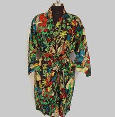 This item is unavailable Kimono Dress, Beach Kimono, Kimono Style, Cotton Kimono, Indian Textiles, Ethnic Dress, Art Silk Sarees, Vintage Coat, Kimono Fashion