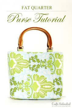 Fat Quarter DIY Purse Tutorial from Crafts Unleashed. LOVE this--what a fun use of leftover fat quarters!