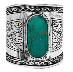 Rocaille Rigid Bangle Bracelet in Antique Silver Metal and Natural Stone Turquoise