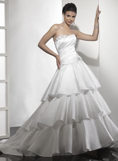 Strapless natural waist A-line satin wedding dress