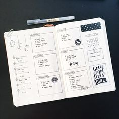 Bullet journal weekly layout, monochromatic layout. @luneostudy