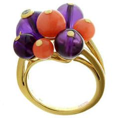 CARTIER Les Delices de Goa Diamond Amethyst Coral Bead Yellow Gold Ring | From a unique collection of vintage cluster rings at https://www.1stdibs.com/jewelry/rings/cluster-rings/