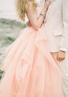 peach tulle. Would be so fun for engagement photos