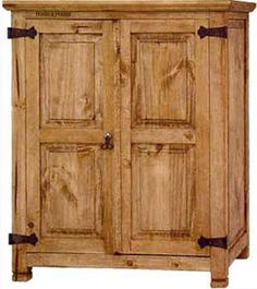 Small mexican armoire is in rustic old European style. The armoire is hand crafted in natural pine, rustic or colonial finishing. Armoire Dresser, Computer Armoire, Antique Armoire, Mexican Furniture, Western Furniture, Clothes Drawer Organization, Big Bear Cabin, Antique Wardrobe, Shaker Furniture