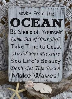 "One of the pictures on the wall of the Forney's ""Cottage"" on Lake Huron.  Good Advice -- for our beach themed bedroom!"
