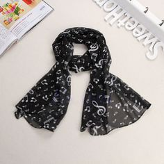 Women 2016 Spring Black Lady Musical Note Chiffon Neck Scarf Shawl Muffler Scarves Long Hottest