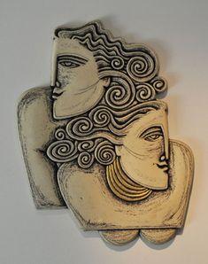 Small Ceramic Wall Sculptures Wall -Little Compositions Ceramic Wall Art, Ceramic Clay, Ceramic Pottery, Slab Pottery, Ceramic Bowls, Sculptures Céramiques, Sculpture Clay, Ceramic Sculptures, Sculpture Ideas