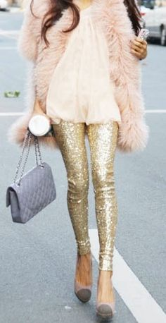 A Chanel bag, cute sparkle pants coupled with a faux fur vest, and you're good to go!
