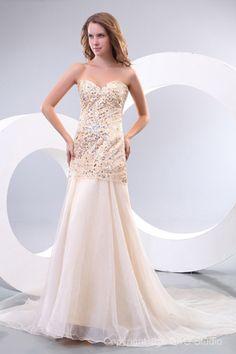 Sleeveless Natural Champagne Zipper Sweetheart Celebrity Inspired Prom Dresses