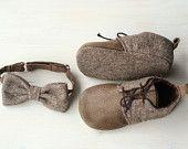 En cuir et laine bébé lacets garçon tweed brun, espadrilles, chaussures, chaussons cuir et laines