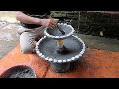 Amazing Ideas With Cement - Plant Pots Combined Fish Tank Easy And Beautiful Cement Art, Concrete Crafts, Concrete Planters, Outdoor Plants, Potted Plants, Plant Pots, Cement Flower Pots, Diy Garden Fountains, Pot Plante