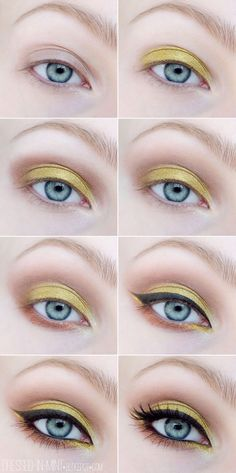 Gorgeous Makeup: Tips and Tricks With Eye Makeup and Eyeshadow – Makeup Design Ideas Yellow Makeup, Blue Eye Makeup, Eye Makeup Tips, Eyeshadow Makeup, Makeup Ideas, Makeup Brushes, Makeup Geek, Dramatic Eye Makeup For Blue Eyes, Easy Makeup