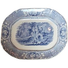 19th Century English Blue and White Transferware Platter 1