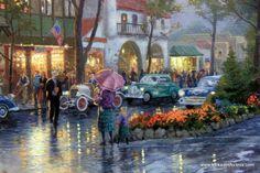 ocean scene paintings famous | Thomas Kinkade | Painting | Carmel Sunset on Ocean Ave G/P | Art