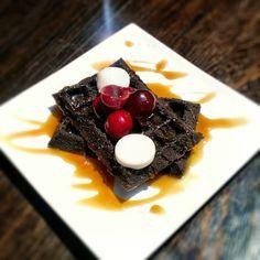 Chocolate *Beer Waffles - Raw Vegan butter, Gluten-Free *beer-maple syrup and cherries #BrunchMenu