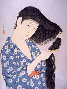 橋口五葉「髪梳る女」 1920年(大正9)