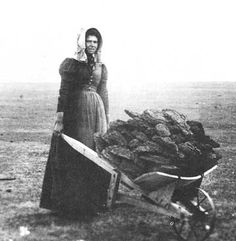 *Pioneer woman on the trail coming  west. Collected buffalo chips to make their fires.
