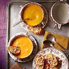 Pumpkin Parsnip Bisque with Hazelnut Toasts.