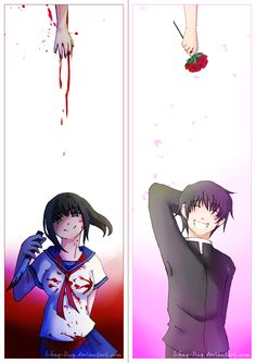 English: Another Yandere Simulator fanart, in my mind this is suppose to work like a double sided bookmark but i will never print it Hope you like it an. Two Different Worlds - Yandere simulator Animes Yandere, Yandere Manga, Yandere Girl, Manga Anime, Anime Art, Yandere Simulator Fan Art, Ayano X Budo, Yendere Simulator, Loli Kawaii